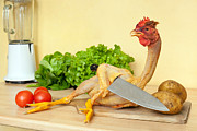 Cooking Naked Prints - Chicken holding knife Print by Stephane Bidouze