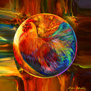 Spheres Digital Art - Chicken in the Round by Robin Moline