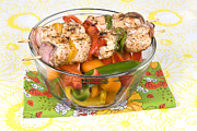 Kabob Prints - Chicken kebob skewers with bell peppers Print by Joe Belanger