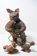 Statue Ceramics - Chicken Rancher by Susan  Brown  Slizys artist name