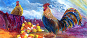Make Believe Painting Posters - Chickens and Candy Corn Poster by Lenora  De Lude