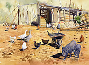 Andalucia Paintings - Chickens geese and little pigs by Margaret Merry