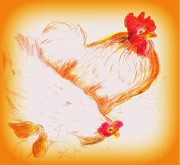 Chickens With Chicks Print by Barbara LeMaster