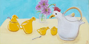 Teapot Paintings - Chicky Tea Set by Georgia Griffin