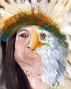 Fathers Paintings - Chief Black Eagle by Angela Pari  Dominic Chumroo