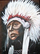 Native Americans Paintings - Chief by Catherine Swerediuk