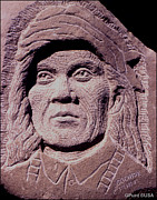 Iron  Sculpture Metal Prints - Chief-Cochise-2 Metal Print by Gordon Punt