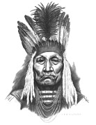 Pencil Portraits Drawings Posters - Chief Curly Bear Poster by Lee Updike