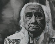 Award Drawings Prints - Chief Dan George Print by Riane Cook