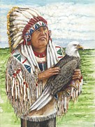Chief Of State Posters - Chief Golden Light Eagle Poster by Todd Spaur