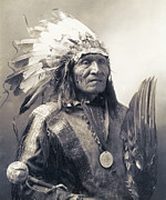 Tribes Photo Framed Prints - CHIEF HE DOG of the SIOUX NATION  c. 1900 Framed Print by Daniel Hagerman