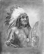 Chief Drawings Originals - Chief III by Jeanne Beutler