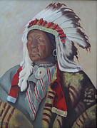 Iron-knee Paintings - Chief Iron Tail by Kathy Przepadlo