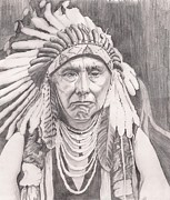 Indian Tradition Drawings Framed Prints - Chief Joseph Framed Print by Beverly Marshall