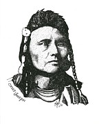 Native Chief Drawings - Chief Joseph by Clayton Cannaday