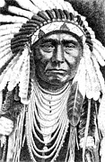 Pen And Ink Drawings For Sale Metal Prints - Chief-Joseph Metal Print by Gordon Punt