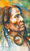 Landmarks Mixed Media Originals - Chief Last Horse by Patricia Allingham Carlson