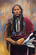 Comanche Paintings - Chief Quanah by Harvie Brown