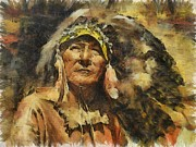 Americans Drawings - Chief by Shimi Gasaba