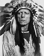 Head Dress Framed Prints - CHIEF WAR EAGLE c. 1909 Framed Print by Daniel Hagerman