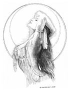 Indian Ink Prints - Chiefs Daughter Print by Paul Shafranski