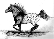 Horse Drawings Prints - Chiefton Print by Cheryl Poland