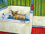 Chihuahua Art Print Prints - Chihahua Dog art PRINT poster gift JSCHMETZ modern folk bathroom bath Print by Jay  Schmetz