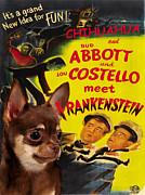Chihuahua Art Print Prints - Chihuahua Art - Abbot and Costello Meet Frankenstein Movie Poster Print by Sandra Sij