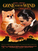 Chihuahua Art Print Prints - Chihuahua Art - Gone with the Wind Movie Poster Print by Sandra Sij