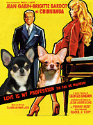 Chihuahua Art Print Prints - Chihuahua Art - Love Is My Profession Movie Poster Print by Sandra Sij