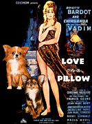 Chihuahua Art Print Prints - Chihuahua Art - Love on a Pillow Movie Poster Print by Sandra Sij