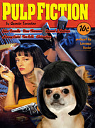 Chihuahua Art Print Prints - Chihuahua Art - Pulp Fiction Movie Poster Print by Sandra Sij