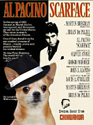 Chihuahua Art Print Prints - Chihuahua Art - Scarface Movie Poster Print by Sandra Sij