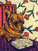 Library Paintings - Chihuahua at the Library by Jay  Schmetz