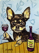 Chihuahua Framed Prints - Chihuahua at the Wine Bar Framed Print by Jay  Schmetz