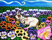 Painted Cat Posters - Chihuahua In Flowers Poster by Genevieve Esson