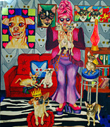Bright Art Of Dogs Prints - Chihuahua Mania Print by Louise Hallauer