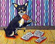 Chihuahua Abstract Art Paintings - Chihuahua Playing the Violin by Jay  Schmetz