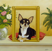 Pastel Dog Paintings - Chihuahua V - Mona Lisa by John Silver