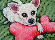 Chihuahua Colorful Art Prints - Chihuahua Who Came to Visit Print by Rebecca Korpita
