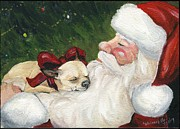 Santa Claus Paintings - Chihuahuas Cozy Christmas by Charlotte Yealey