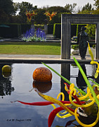 Glass Reflecting Framed Prints - Chihuly Art from the Infinity Pond Framed Print by Allen Sheffield