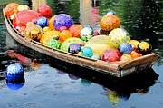 Colorful Photography Glass Art Posters - Chihuly Boat with Glass Floats Poster by Elizabeth Budd