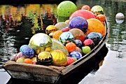 Glass Reflecting Metal Prints - Chihuly Glass Floats in a Boat Metal Print by Elizabeth Budd