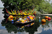 Transportation Glass Art Posters - Chihuly - Infinity Boats Poster by Cheryl McClure