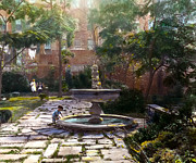 Mansion Prints - Child and Fountain Print by Terry Reynoldson