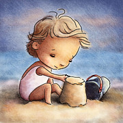 Boy Drawings Framed Prints - Child At The Beach Framed Print by Anna Abramska