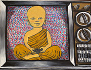 Video Games Painting Originals - Child Buddha in a Television by Nathan Winsor