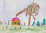 Original Art Pastels Prints - Child drawing of a happy family Print by Kiril Stanchev