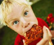Kid Eating Snack Prints - Child Eats Pizza Print by Don Hammond